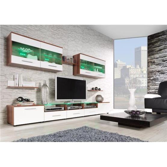 Ensemble meubles Tv design CIMI 1 Bois et blanc position