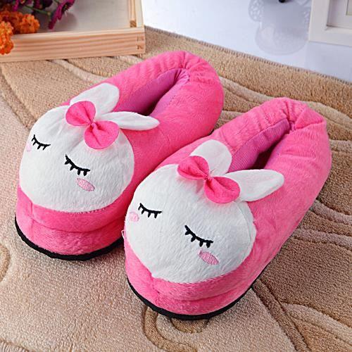 lapin rose femmes hiver cotton pantoufles