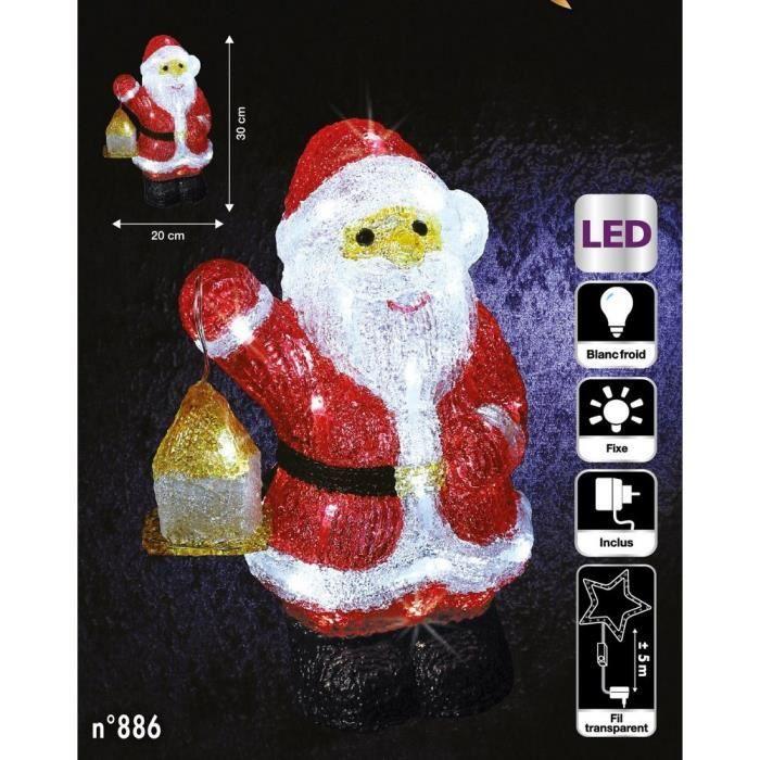Père Noël lumineux avec lanterne 40 LED - Achat   Vente village - manège -  Soldes  dès le 9 janvier ! Cdiscount d439303704e4