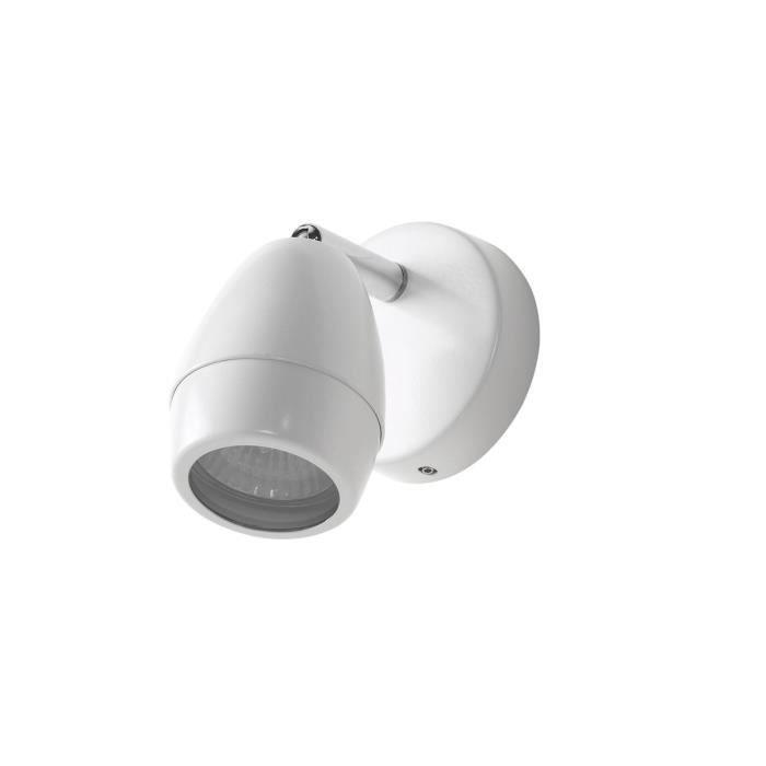 Spot mural salle de bain LED orientable DORY blanc en métal - Achat ...