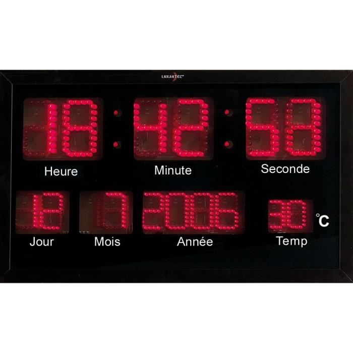 Horloge murale radio pilot e led rouges achat vente horloge pendule soldes d s le 27 for Horloge led murale