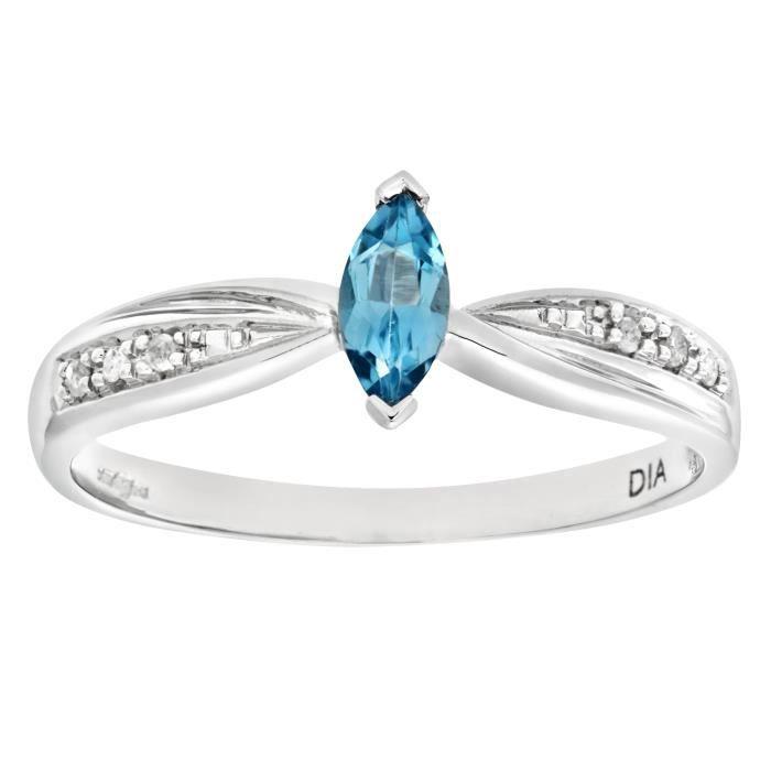 38726aaff12c93 Revoni Bague Solitaire Topaze bleu et Diamant Or Blanc 375° Femme  Poids du  diamant