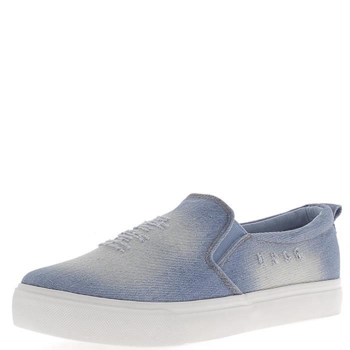 Slip-on bleu jean avec griffures en toile - Couleur:Bleu