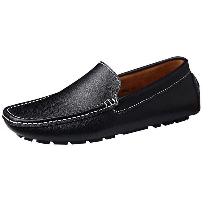 Rismart Hommes Doux Cuir de Deuxième Couchede Conduire Confort Mocassin Chaussures