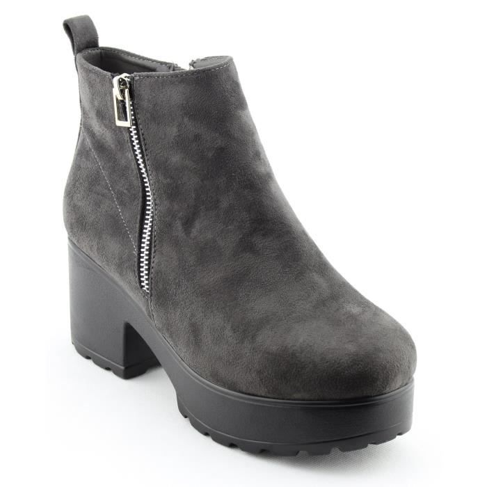 Pull On Side Zip Up Platform Ankle Boots MPQLI Taille-37