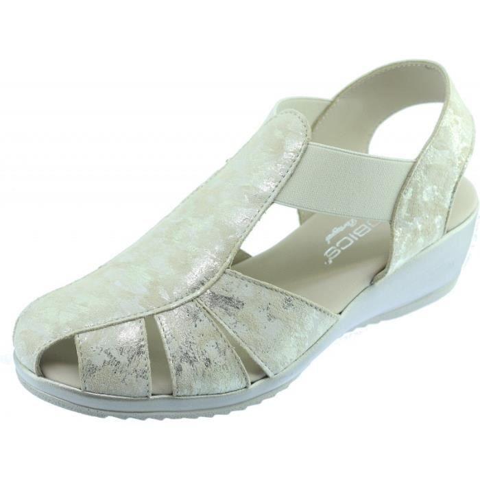 67cac4a5200911 TRAIN - Sandale confortable arrière fermé souple et flexible chaussure pour Femme  pieds sensible marque Aérobics cuir beige