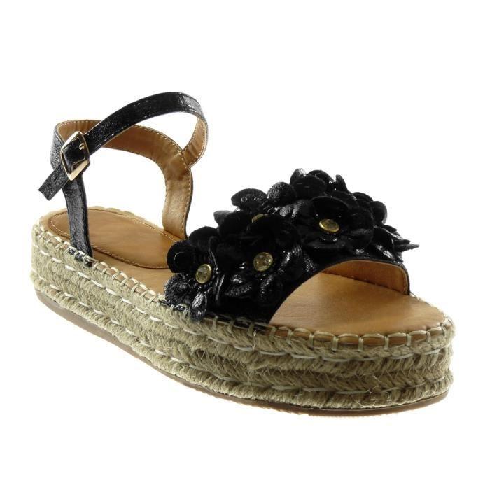 Angkorly - Chaussure Mode Sandale lanière cheville plateforme femme fleurs strass diamant brillant Talon compensé plateforme 4 CM -