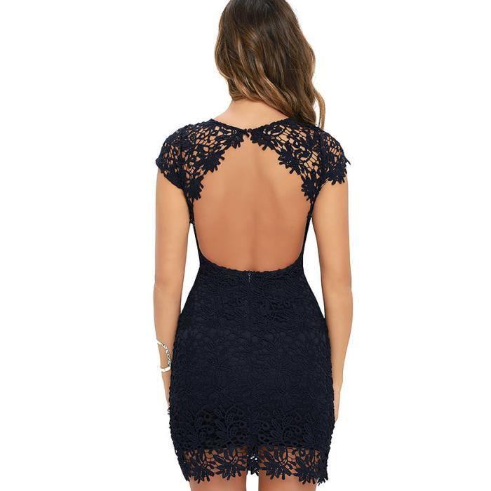 LEurope et les États-Unis modèles dexplosion équipée dentelle soluble dentelle dentelle couture robe dété backless noir