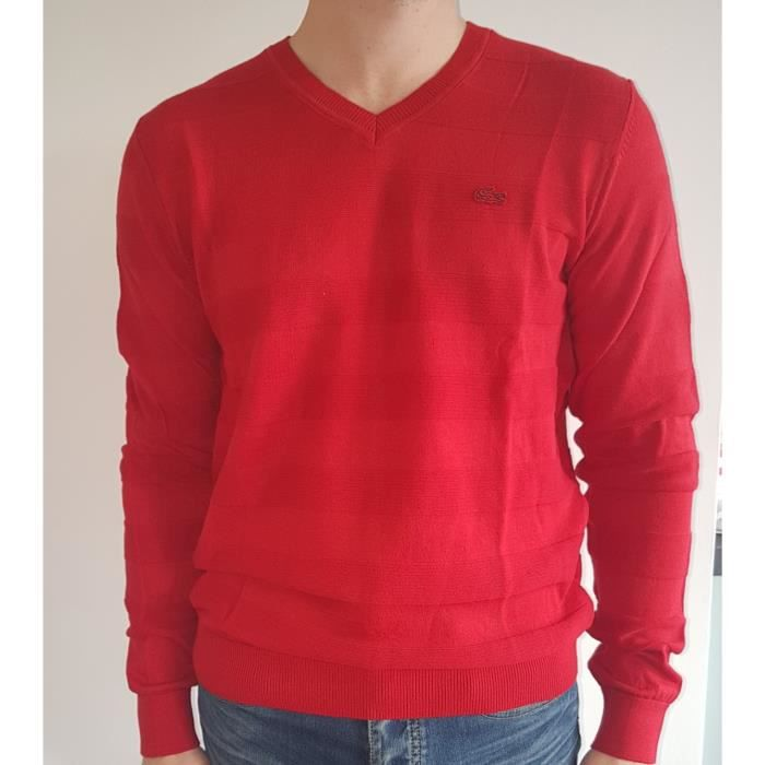 fe67a8caac PULL LACOSTE ROUGE Rouge ROUGE - Achat / Vente sous-pull - Cdiscount