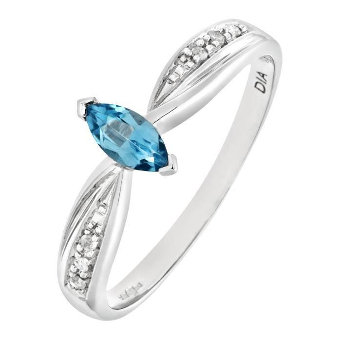 0ae76b43473d67 Revoni Bague Solitaire Topaze bleu et Diamant Or Blanc 375° Femme  Poids du  diamant ...