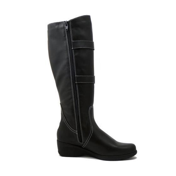 CINZIA SOFT- Femme botte cuir souple noir, semelle en caoutchouc, talon 4 cm., 90133