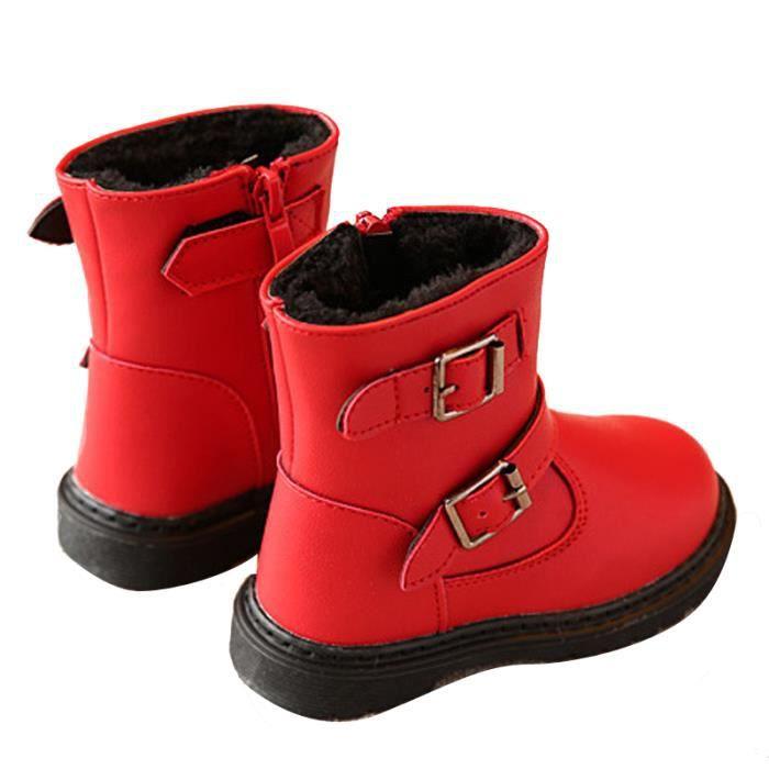 D'hiver Bottes Cuir Enfants Nouveaux Mode Bottines Fille YLG-XZ104Rouge24 80oZNlH