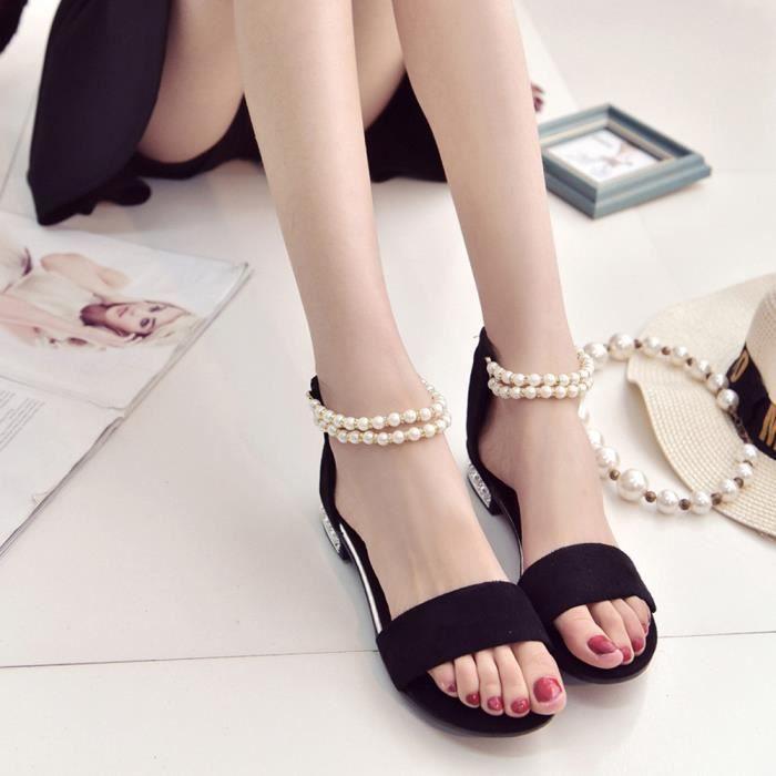 Vacances Sandales Chaussures Dames Femmes Lacent Plat Des noir D't Dcontractes RInwOgq0