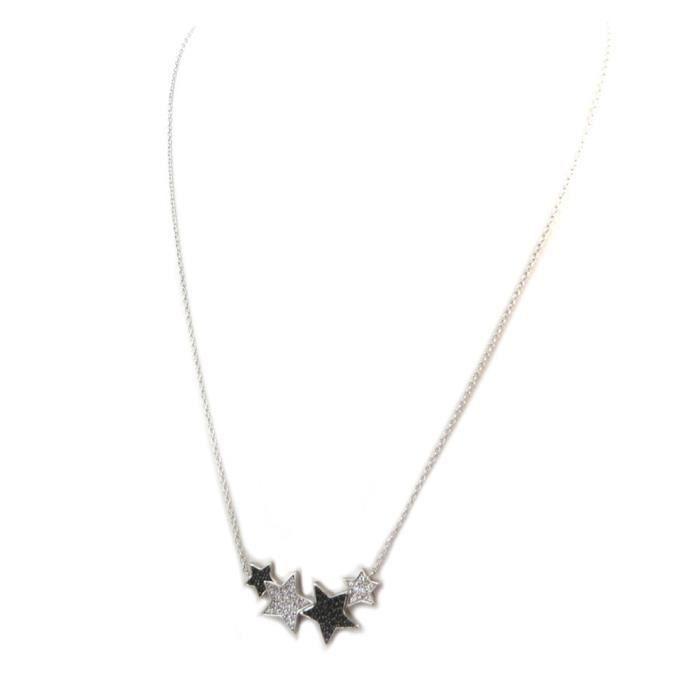 Collier Argent Etoile noir blanc argenté (rhodié) [P5044]