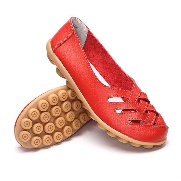 Chaussures Rouge Femme Creux Respirant Cuir Dcontract Plates BHHCqUp