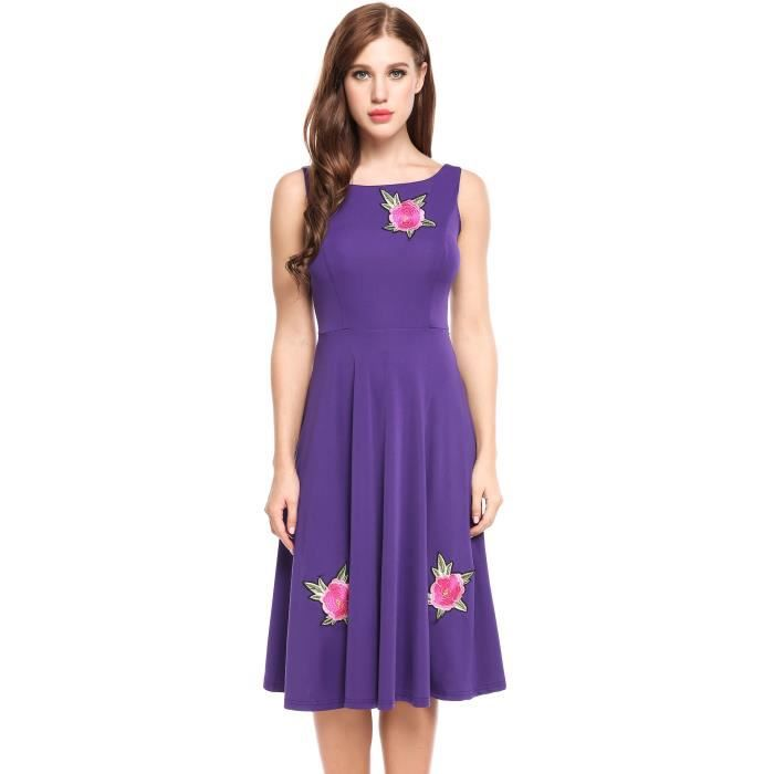 Robe Vintage Styles Floral Broderie Elastique A-Line Plissé