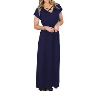 a0666c8c21248 ROBE Womens manches courtes solide Boho robe longue Lad