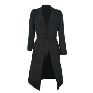 MANTEAU - CABAN Manteau Femme Laine Légère Long Col Revers Manches ... 9c069d7aa0b