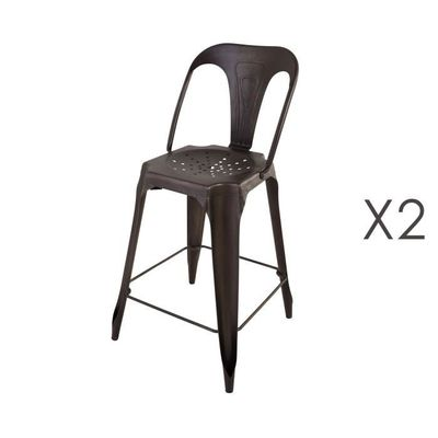 Lot De 2 Chaises Bar Mtal Vieilli Assise 65cm