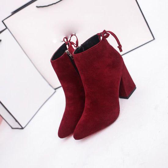 Noeud Benjanies Abkle Cylindre Talon Vin Chaussures Bottines Élégant du D'hiver Bottes De Haut Court Oq1466w8