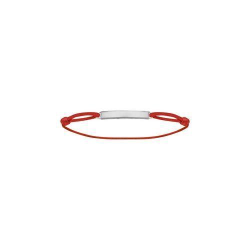 Bracelet argent rhodié cordon rouge réglable avec