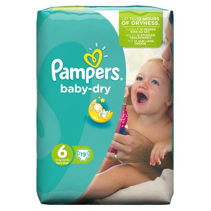 Pampers baby dry taille 6 15kg et 19 couches - Couches pampers baby dry taille 2 ...