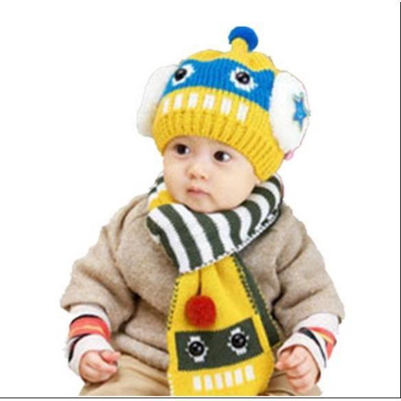 Hiver enfants mignon chapeau et écharpe de laine (6-24 mois)JAUNE ... cfb750db47e