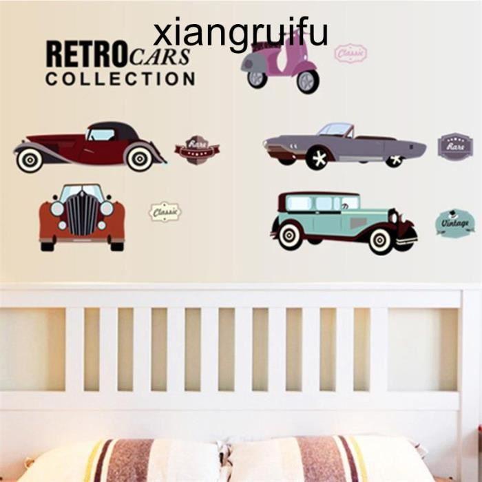 Bande dessinée voitures muraux pour enfants chambre garçon stickers muraux  fenêtre affiche 3D voiture sticker mural papier peint