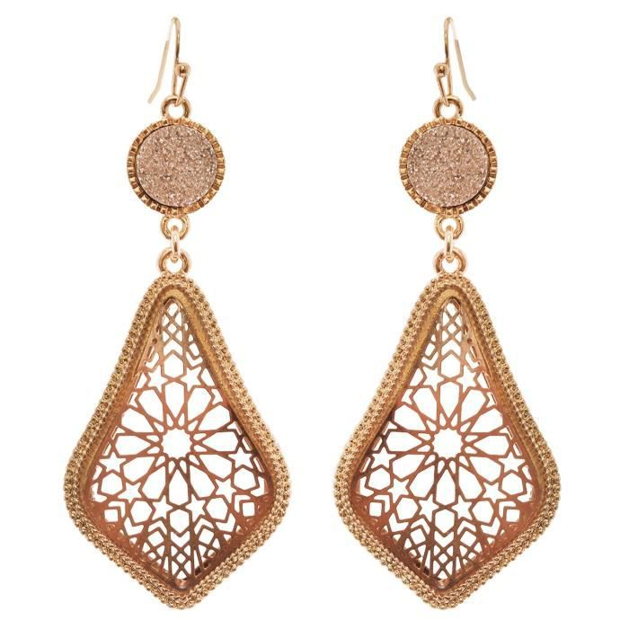 Womens Druzy Stone And Moroccan Filigree Dangle Earrings UCL5I