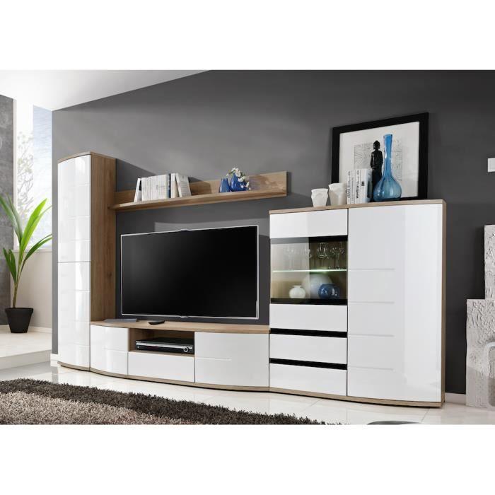 meuble tv complet ontario petit modle meuble pour salon design corps chne faades blanches et noires haute brillance avec led