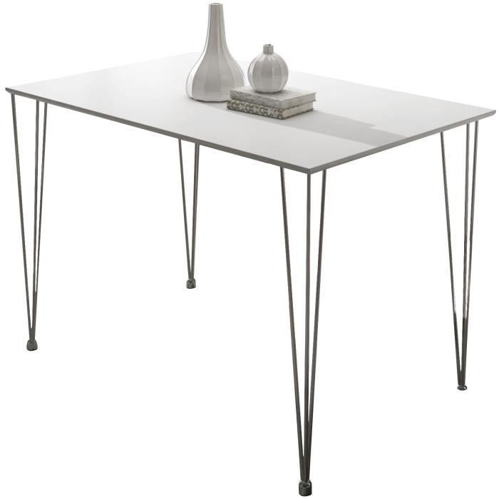 Table Design Rectangulaire 120 Cm Coloris Blanc Mat Achat Vente