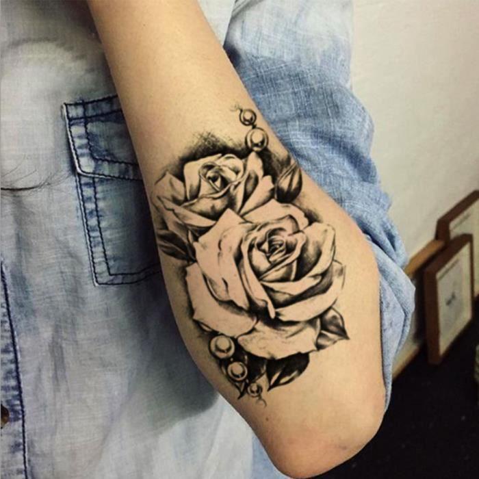 tatouage temporaire autocollants amovible imperm able 3d rose bras corps bricolage cm. Black Bedroom Furniture Sets. Home Design Ideas