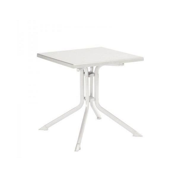 Table De Jardin Pliante Blanche Advantage En Aluminium L 80 X L 80 X H 74 Cm