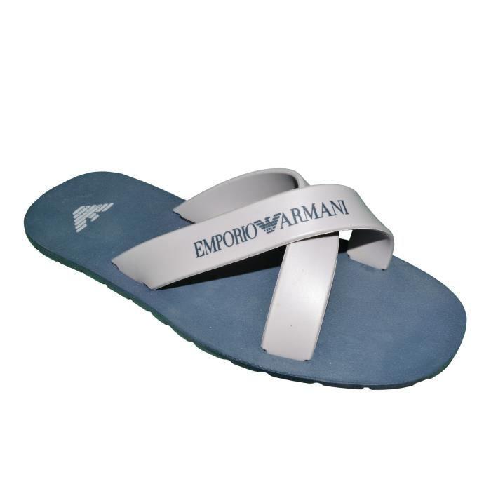 Emporio Armani - Tongs Croisées - Homme - Beach Sandals 211516 4p488 - Bleu Gri