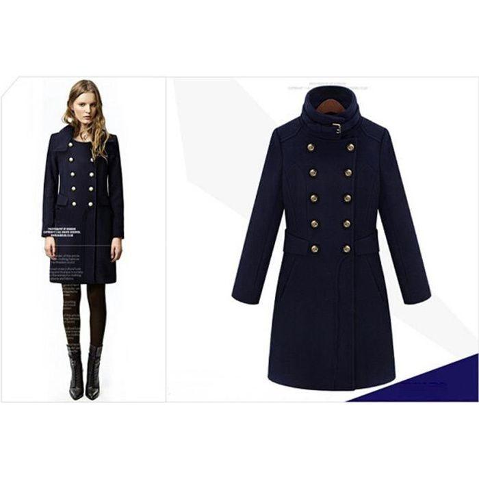 manteau femme longue hiver en laine col montant double boutonnage pais bleu marin grande bleu. Black Bedroom Furniture Sets. Home Design Ideas