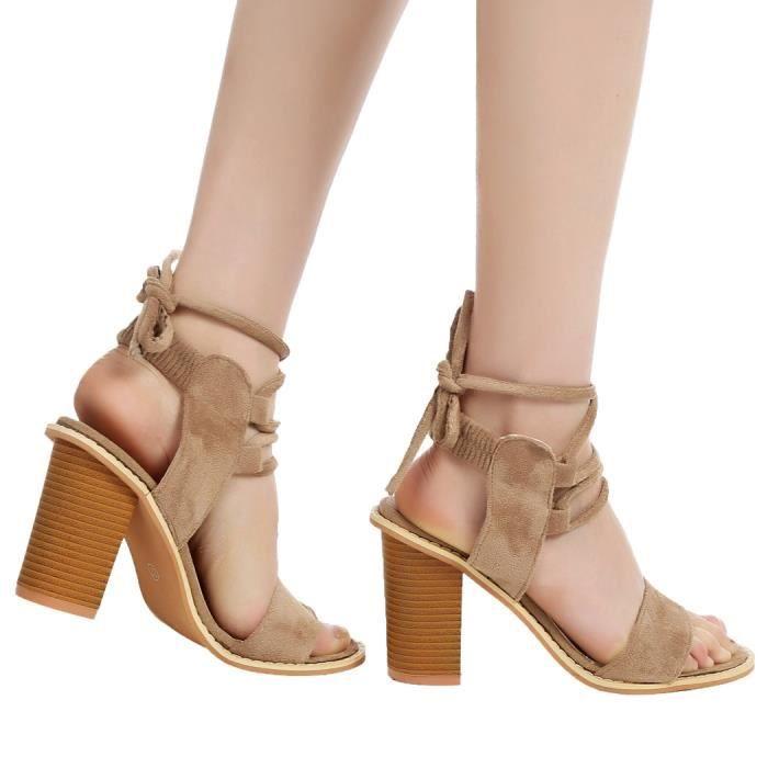 Sandales élégantes à talons hautsà lacets en dentelle 3OSL3O