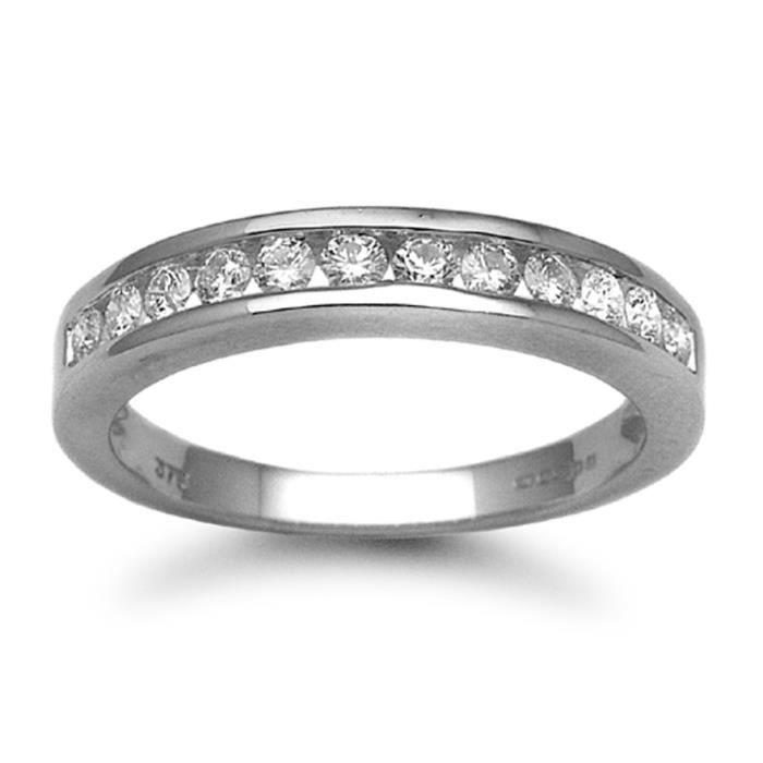 Jewelco London Dames Or blanc 9k 0.5ct Diamant éternité bague 4mm