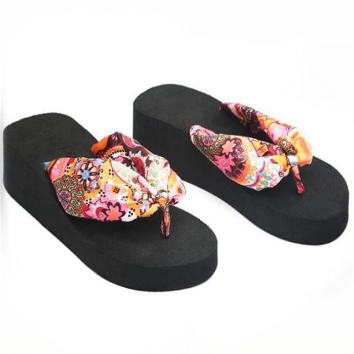 Pantoufle Femme Été Confortable Respirant Bohême ModePlate-Forme Wedge Femmes Chaussures Plage Flip Flops ZX-x106noir-40