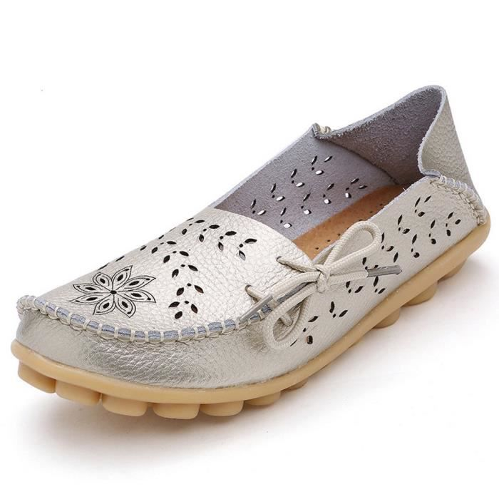 Women' S Leather Loafers Casual Moccasin Driving Outdoor Shoes Indoor Flat Slip-on Slippers I0PUX Taille-37