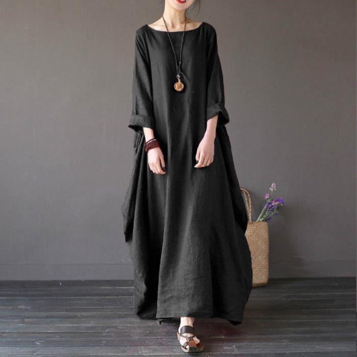 cf7965dc164 Robe longue maxi longue en coton à manches longues LNP71208364BK Noir
