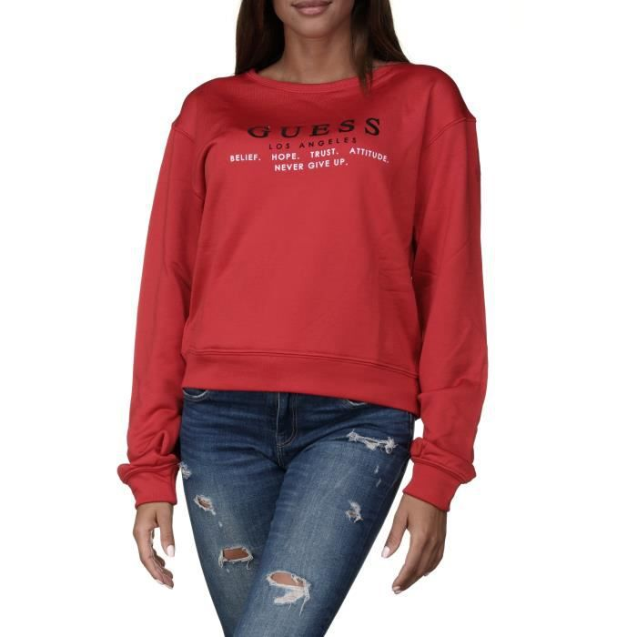 Sweat femme Guess W84q37 - K7ex0 G5a5 Rouge Rouge Rouge - Achat ... 47961f9e18c