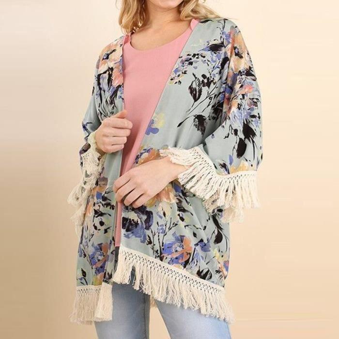 Couverture Rwei5938 Trois Kimono Cardigan Manches Tassel Femmes Châle Floral Imprimé quarts Cw8qgv4xp