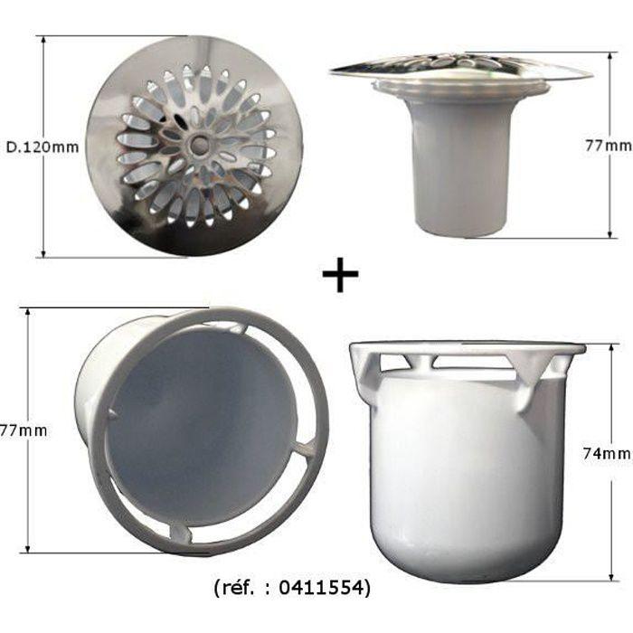 Grille avec garde d 39 eau tasse pour bonde de douche 695 for Syphon bac a douche
