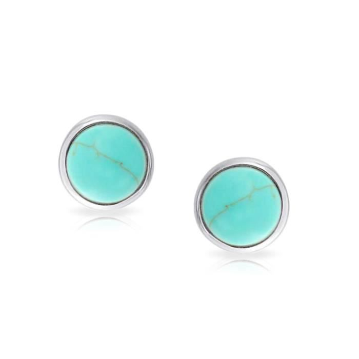 Bling Jewelry Turquoise synthétique ronde sertie dargent 925 Stud Earrings 8mm