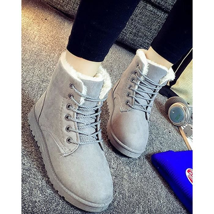 Tomwell Femme Hiver Suede Neige Cheville Flat Boots Chaudes Fourrure Chaussures Lace Up Sneaker yUysk