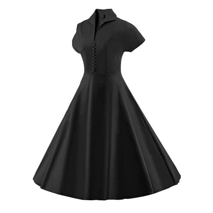 À manches courtes sexy des femmes de style vintage 1950 Parti Rockabilly Robe 2M70O5 Taille-34