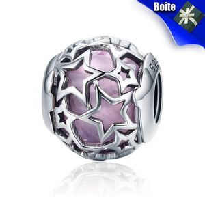 Charm's Charms Argent 925 1000 Coeurs Radiant Rose Opalesc