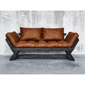 FUTON Canapé convertible en bois noir avec matelas futon
