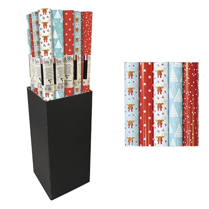 CLAIREFONTAINE Rouleau papier cadeau Excellia Flocons - 5 x 0,7 m - 80 g / m² - 5 visuels assortis sous film