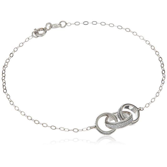 Craze 14k White Gold Italian Inner Glitter Circle Bracelet, 7.5 S2H86